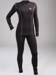 Женское эластичное черное термобелье с серыми швами