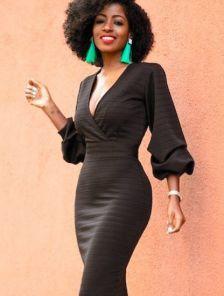 Черное облегающее платье миди с рукавом фонариком