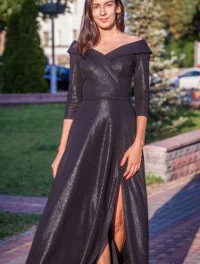 Вечернее черное длинное платье с открытым декольте и вырезом