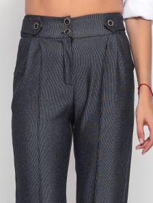 Классические прямые брюки с высокой талией и карманами в черном цвете