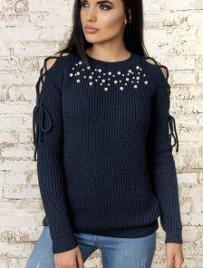 Синий теплый женский свитер с завязками на плечах