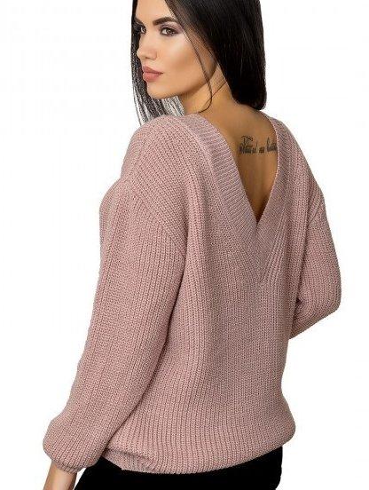 Пудровый женский теплый свитер с V-образным вырезом на спине, фото 1