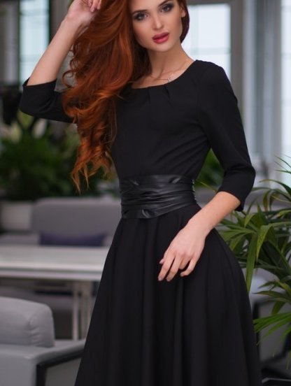 Вечернее черное платье на рукав 3/4, фото 1