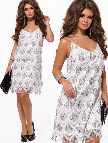 Платье-трапеция белого цвета вышитое пайетками для выпускного, фото 1