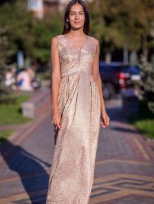 Вечернее золотое люрексовое платье
