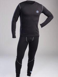 Мужское эластичное черное термобелье с серыми швами