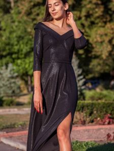 Длинное черное вечернее платье с рукавом