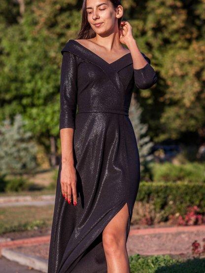 Длинное черное вечернее платье с рукавом, фото 1
