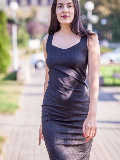 Коктейльное короткое платье с люрексом, фото 1