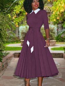 Бордовое платье миди с белым волотничком и рукавом 3