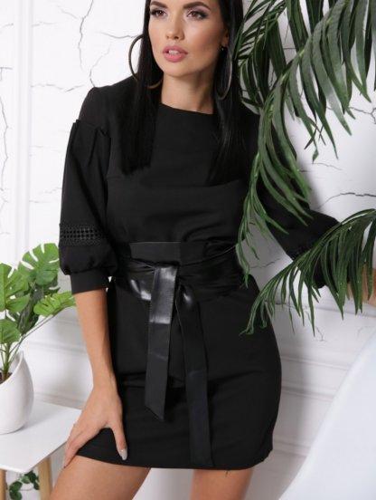Черное классическое платье трапеция с рукавами фонариками, фото 1