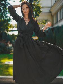 Шелковое черное нарядное платье макси на длинный рукав