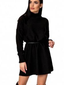Черное вязаное платье трапеция с горловной на длинный рукав