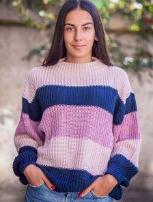 Полосатый теплый свитер оверсайз