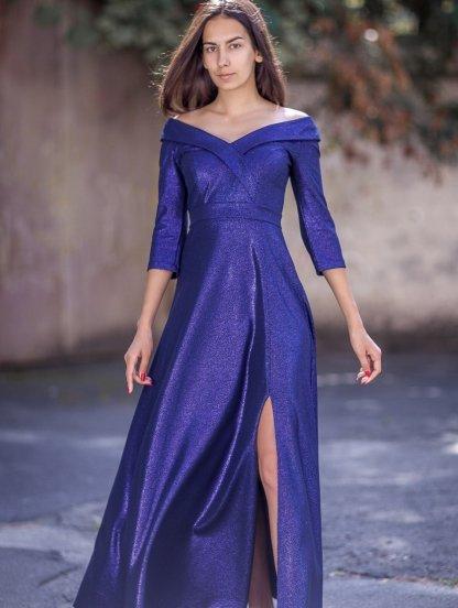 Вечернее длинное платье большого размера с рукавом 3/4, фото 1