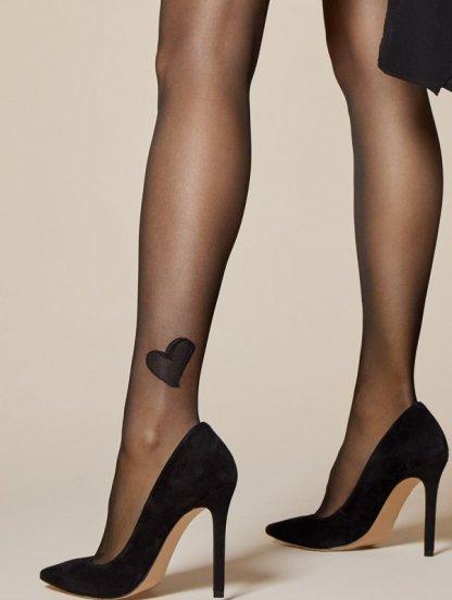 Фантазийные черные колготки на 20DEN с сердечком, фото 1