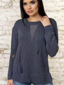 Синий женский теплый свитер с оригинальными потертостями