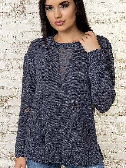 Синий женский теплый свитер с оригинальными потертостями, фото 1