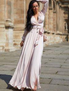Вечернее светлое платье с запахом