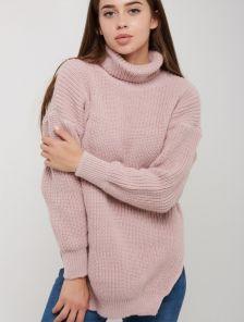 Розовый теплый вязаный удлиненный зимний свитер с горловиной