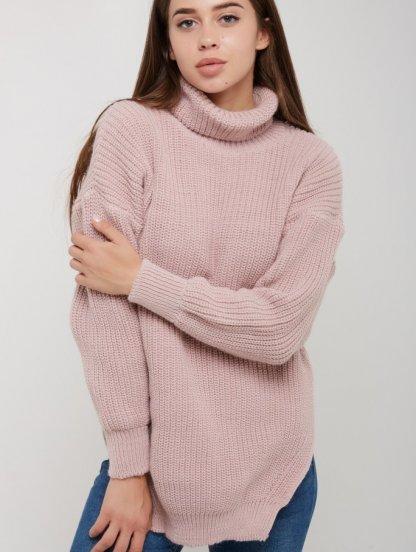 Розовый теплый вязаный удлиненный зимний свитер с горловиной, фото 1
