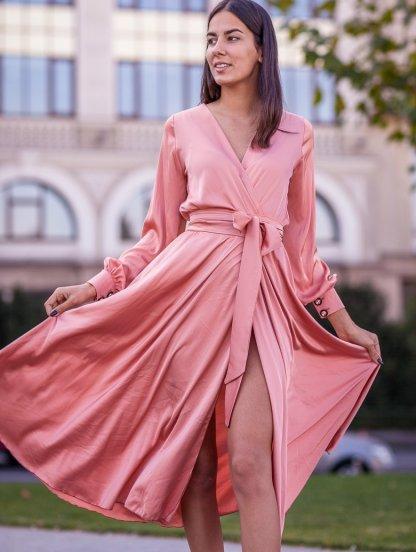 Шелковое нарядное платье до косточки на длинный рукав, фото 1