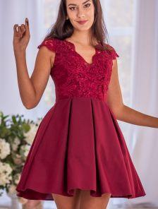 Короткое коктейльное кружевное платье на выпускной вечер