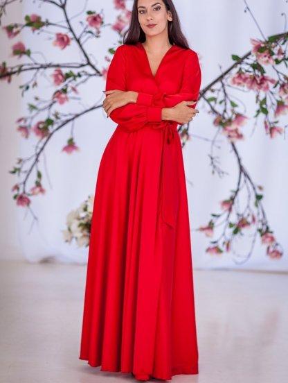 Красивое красное платье на запах в ткани с натуральным шелком, фото 1