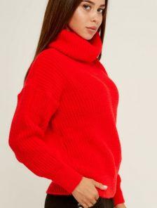 Красный вязаный теплый свитер с объемным рукавом и горловиной 20% шерсть