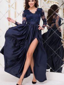 Вечернее синее длинное платье с атласной юбкой и прозрачной спиной