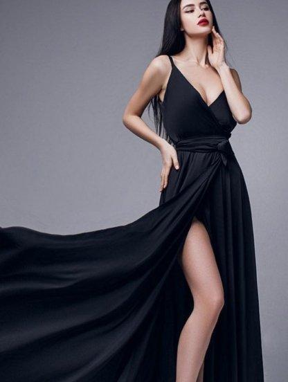 Вечернее черное длинное шелковое платье на бретелях, фото 1