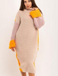 Стильное бежевое вязаное платье , 40% шерсть