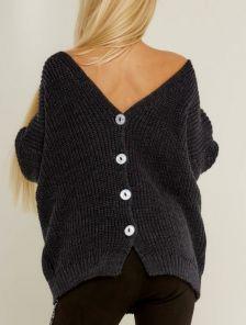 Темно-серый вязаный теплый свитер на пуговицах