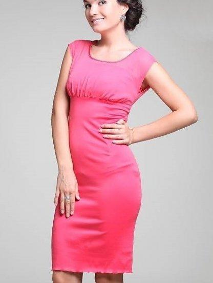 Коралловое деловое платье с сеткой, фото 1