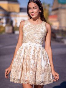 Короткое золотое коктейльное платье