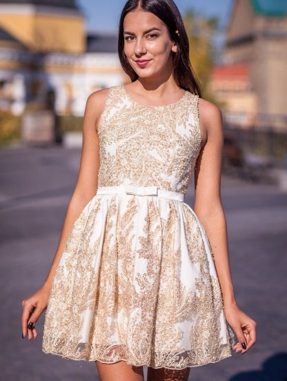 Короткое золотое коктейльное платье, фото 1