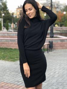 """Черное теплое платье-миди с рукавами """"летучая мышь"""""""