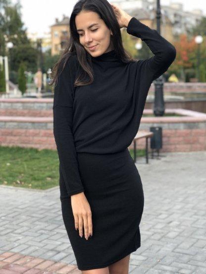 """Черное теплое платье-миди с рукавами """"летучая мышь"""", фото 1"""