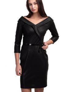 Вечернее черное коктейльное платье с открытым декольте и вырезом