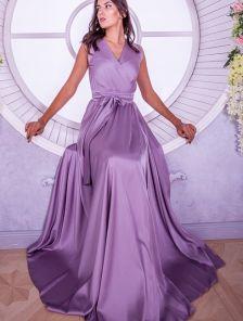 Вечернее лиловое шелковое платье в пол с разрезом