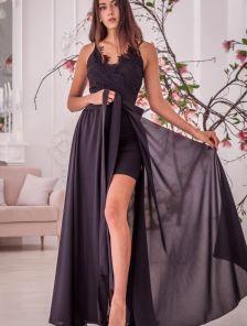 Вечернее кружевное платье со съемной пышной юбкой