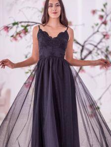 Вечернее кружевное черное платье с фатиновой юбкой