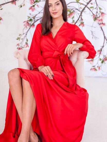 Красивое красное платье на запах, фото 1