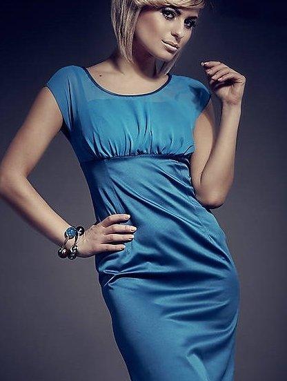 Бирюзовое деловое платье миди, фото 1