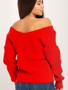 Женский красный теплый вязаный зимний свитер со спущенным верхом