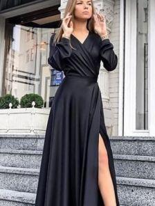 Нарядное черное платье на длинный рукав