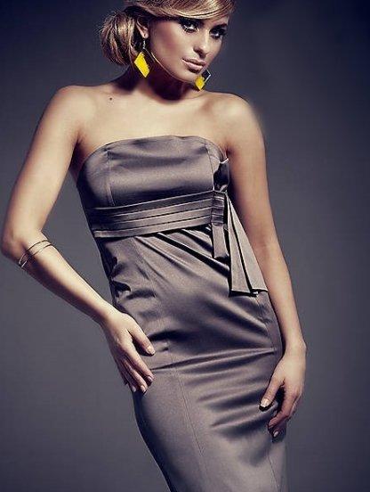 Серое платье бюстье без бретелей длины-миди, фото 1