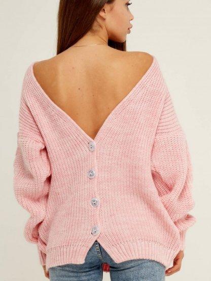 Розовый теплый вязаный зимний свитер на пуговицах, фото 1