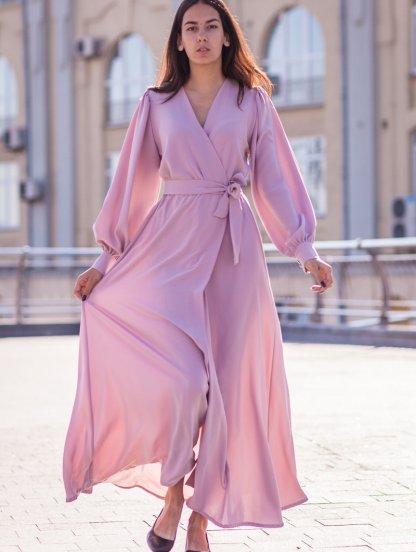 Вечернее пудровое платье в пол на длинный рукав, фото 1