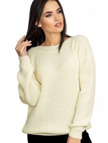Красивый теплый свитер с V-образным вырезом на спине в бордовом цвете